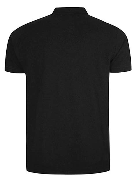 basic pique longline polo shirt black george at asda