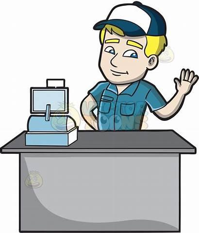Cashier Clipart Fast Employee Friendly Cartoon Cash