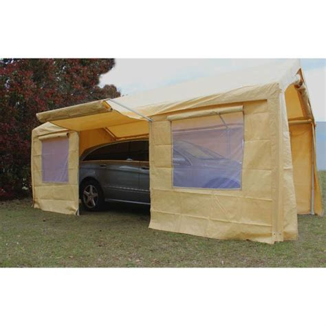 king canopy tan  frame enclosed carport  awning    ft ebay