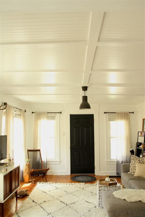 Furniture Beadboard Plank Ceiling Over Popcorn Ceiling
