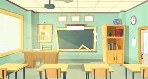 Vector Cartoon Illustration of School Classroom by ...