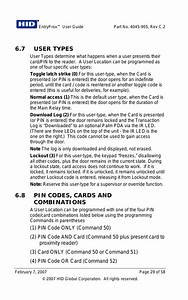 7 User Types  8 Pin Codes  Cards And Combinations
