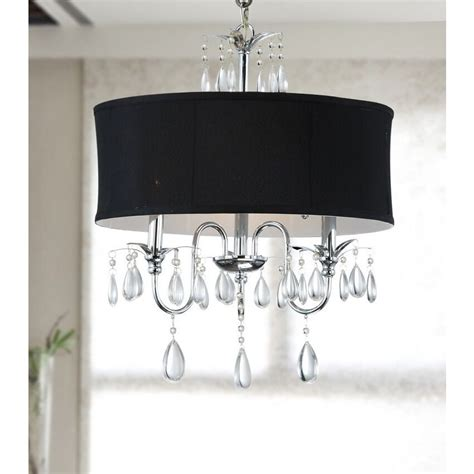 Black Chandelier Shade chrome 3 light black shade chandelier ebay