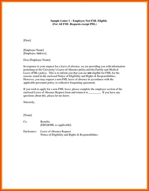 leave  absence letter personal reasons resume samples