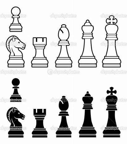 Chess Pieces Illustration Printable Sketch Depositphotos Wood