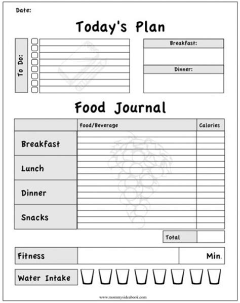 fitness journal template calorie calculator for recipes