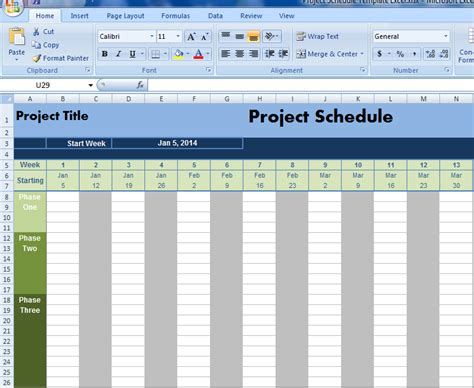 project schedule template excel project management excel
