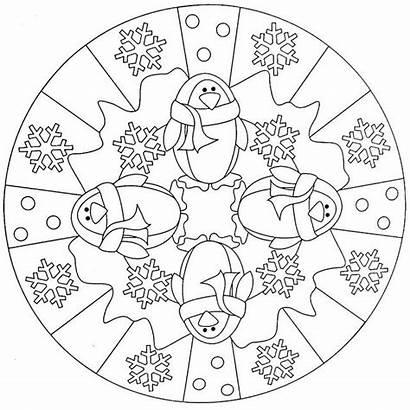 Mandala Coloring Penguin Crafts Kindergarten Preschool Worksheets