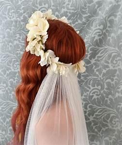 Bridal veil, Ivory flower crown, boho wedding accessory ...