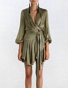 lyst zimmermann empire sueded robe dress in green With dress robes