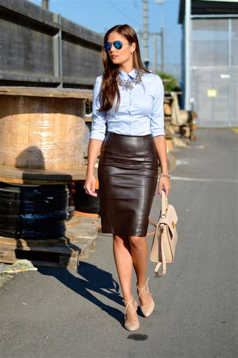 25+ best ideas about Black leather pencil skirt on Pinterest | Sexy work outfit 2016 trends and ...