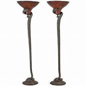 pair of snake floor lamps in the manner of edgar brandt With floor lamp with snake