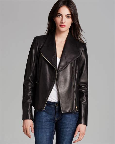 calvin klein asymmetric zip leather jacket  black lyst