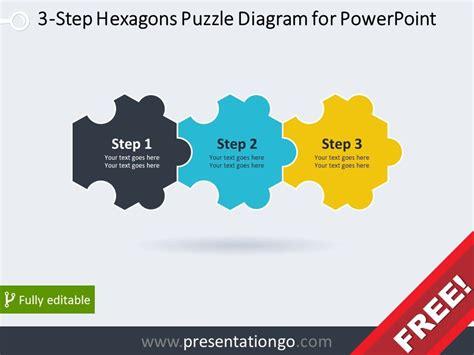 diagram  powerpoint   hexagonal puzzle pieces