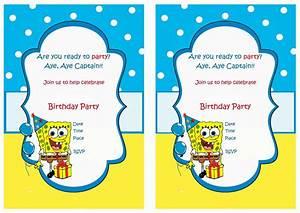 spongebob birthday invitations birthday printable With spongebob party invitation templates