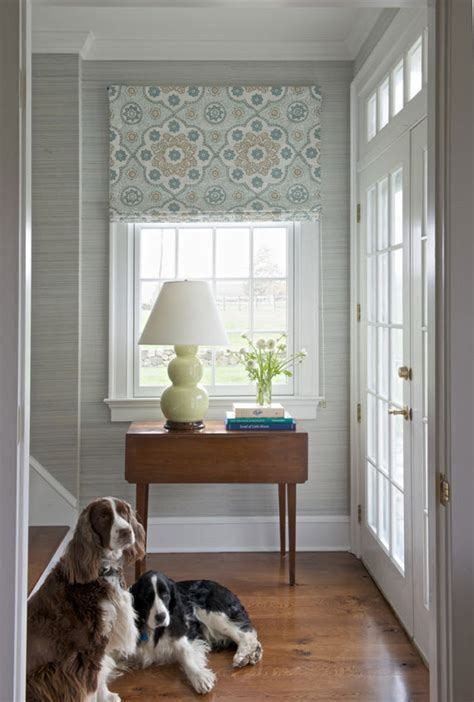 Elegant Entryway With Roman Shade  Kerry Hanson Design