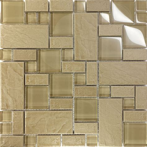 tile patterns for kitchen walls 1sf beige glass blend pattern mosaic tile kitchen 8504