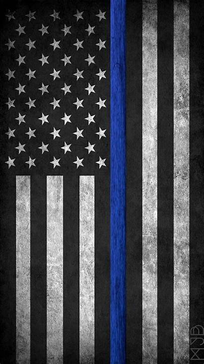 Flag Police American Thin Line Enforcement Law