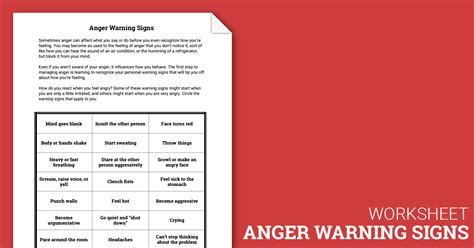 anger warning signs worksheet therapist aid