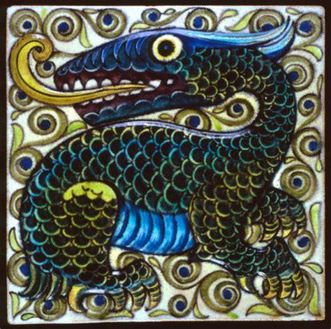 tile  dragon design  william de morgan