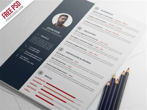 free psd professional resume cv template psd by psd