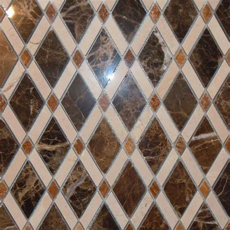 lattice rhomboid marble mosaic tile by classic