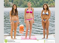 Friends In Bikinis On Pier Stock Photography Image 7379752