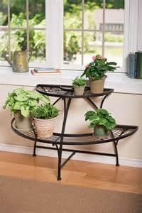 semi circular metal plant stand black tubular steel