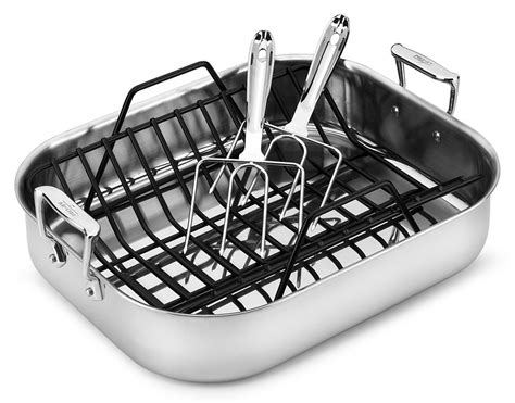roasting pan with rack all clad stainless roasting pan with rack lifters 16 x