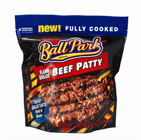 food products ball park flame grilled patties