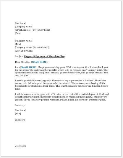 Partial Shipment Request Letter Template | Word Document
