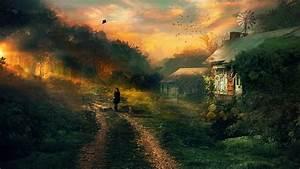 Artwork, Digital, Art, Cottage, Kites, Forest, Wallpapers, Hd, Desktop, And, Mobile, Backgrounds