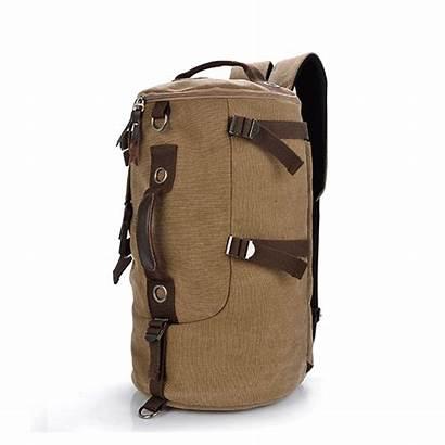 Hiking Camping Backpack Khaki Canvas Backpacks Dual
