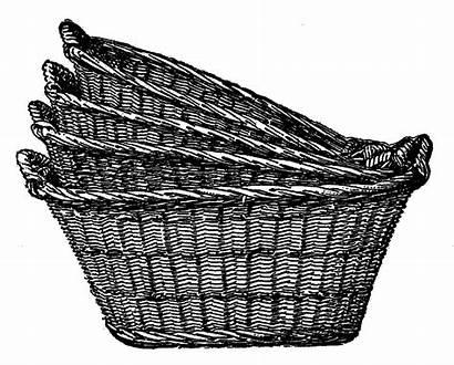 Basket Clipart Wicker Laundry Clip Baskets Antique