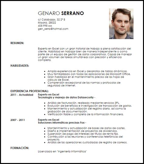 Exle Of Cv For by Modelo Curriculum Vitae Experto En Excel Livecareer