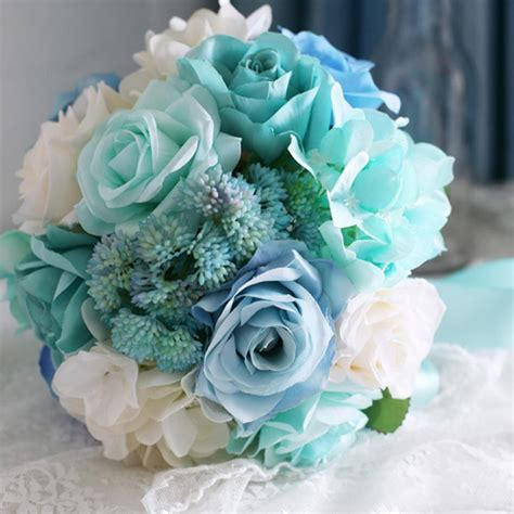 Baby Blue Light Mint Green Bridal Bouquet For Wedding