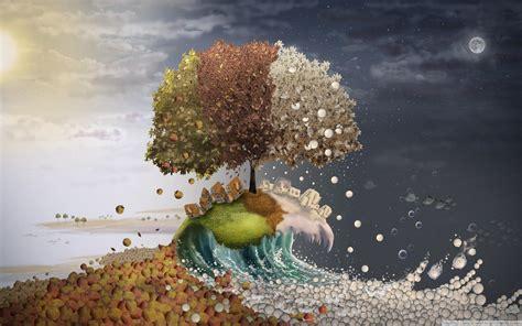 seasons surreal art  hd desktop wallpaper   ultra