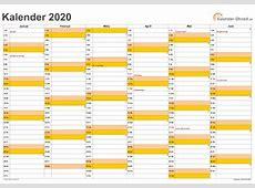Kalender 2020 mit Feiertagen