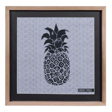 Tableau ananas en bois et verre 28 x 38 cm URBAN Maisons