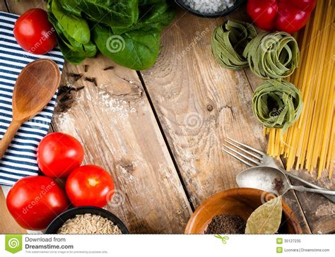 cuisine stock food background on wooden board stock image image 35127235