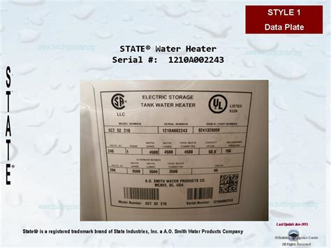 state water heater age building intelligence center