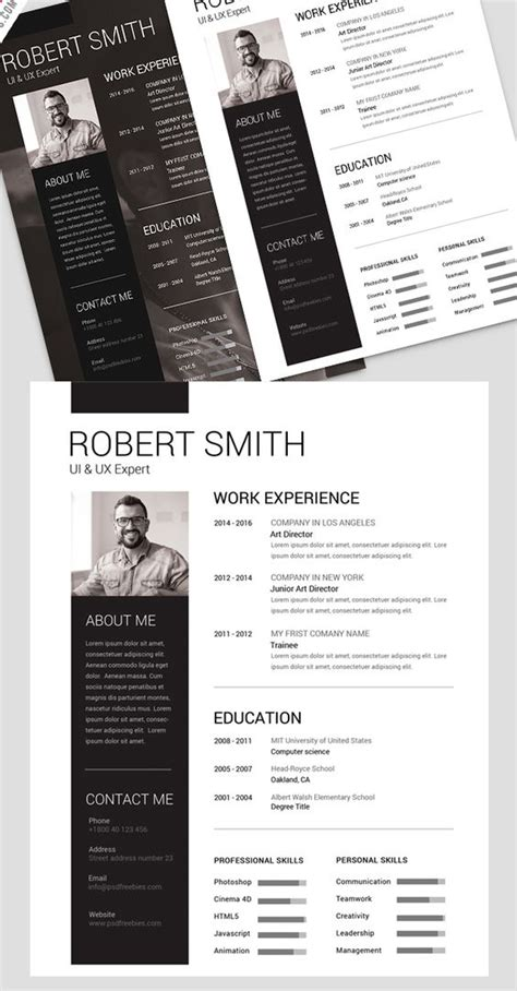 simple  clean resume  psd template psd templates