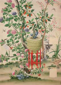 Antique Chinoiserie Panel Wallpaper