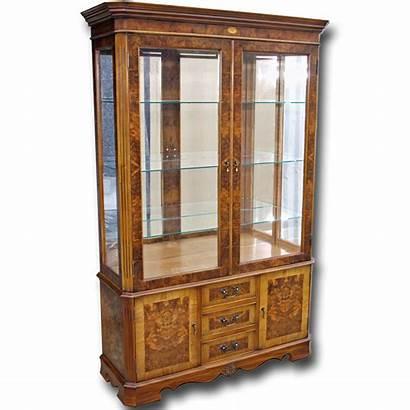 Display Cabinet Drawer Cabinets Burr Walnut Base