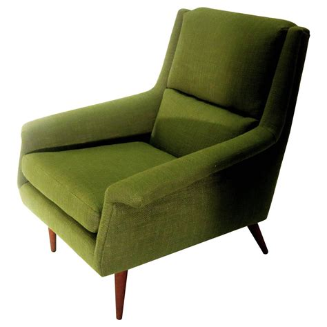 Art Chairs by 1950s Danish Modern Dux Kelly Green Upholstered Lounge