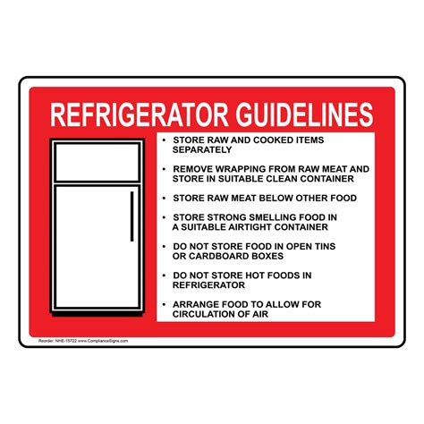 Kitchen Safety Labels by Refrigerator Guidelines With Symbol Sign Nhe 15722 Safe
