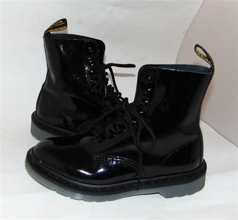 Martens Black Glossy Goth Combat Pascal Stud Boots