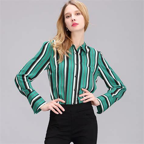 2017 Autumn Women Green Elegant Office Shirt Vertical
