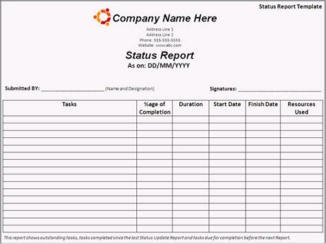 status report template report templates free printable sle ms word templates