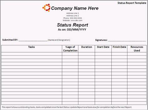 status report template  printable word templates